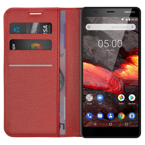 Leather Wallet Case & Card Holder Pouch for Nokia 5.1 - Red